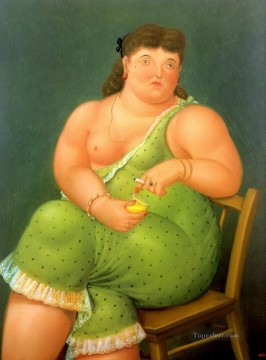 nude naked body Painting - half naked woman Fernando Botero